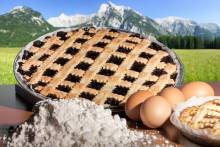 Pie and baking ingredients in the mountains
