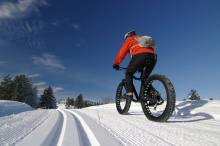 Fat biking on snowy trail